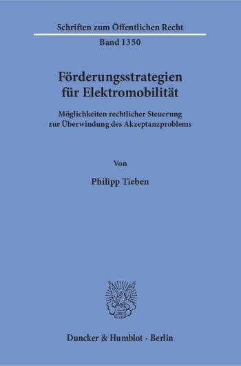 Cover: Förderungsstrategien für Elektromobilität