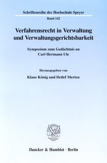 Cover: Verfahrensrecht in Verwaltung und Verwaltungsgerichtsbarkeit