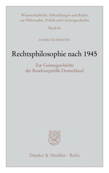 Cover: Rechtsphilosophie nach 1945