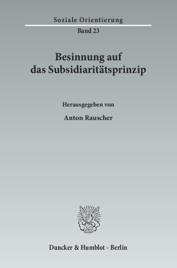 Cover: Besinnung auf das Subsidiaritätsprinzip