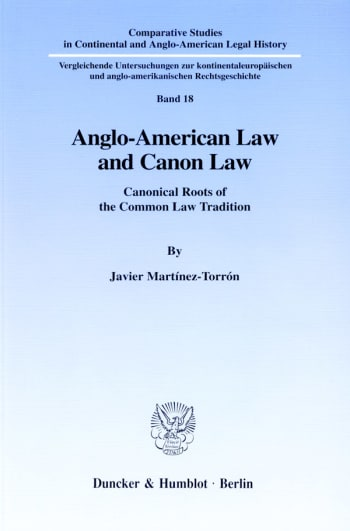 Cover: Anglo-American Law and Canon Law