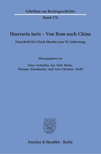 Cover: Itineraria iuris – Von Rom nach China