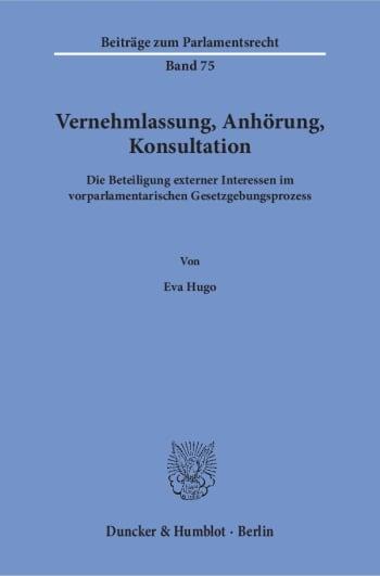Cover: Vernehmlassung, Anhörung, Konsultation