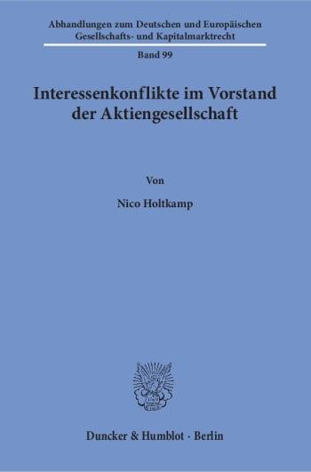 Cover: Interessenkonflikte im Vorstand der Aktiengesellschaft