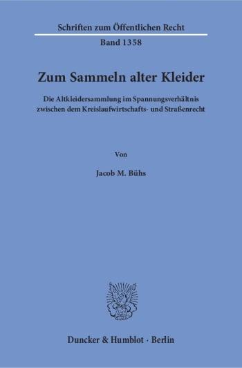 Cover: Zum Sammeln alter Kleider