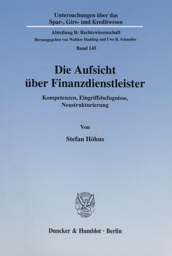 Cover: Die Aufsicht über Finanzdienstleister