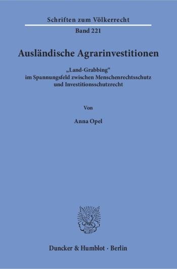 Cover: Ausländische Agrarinvestitionen