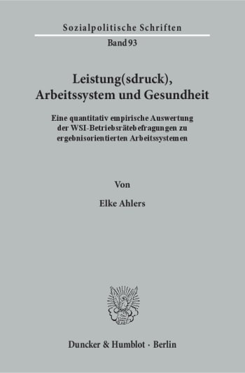 Cover: Leistung(sdruck), Arbeitssystem und Gesundheit