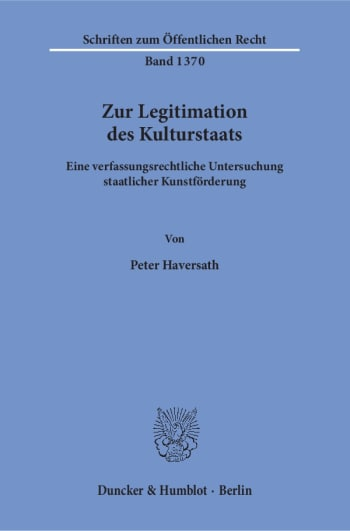 Cover: Zur Legitimation des Kulturstaats