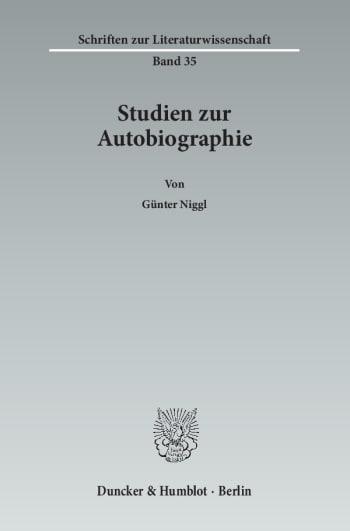 Cover: Studien zur Autobiographie
