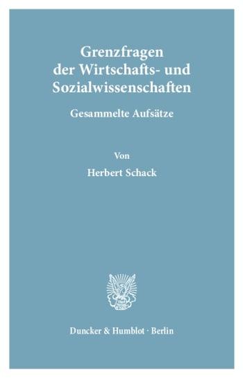 Cover: Grenzfragen der Wirtschafts- und Sozialwissenschaften