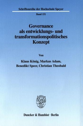 Cover: Governance als entwicklungs- und transformationspolitisches Konzept