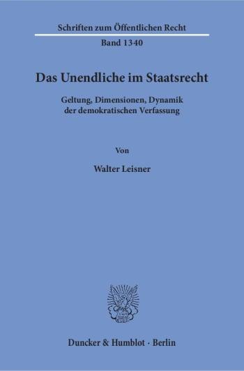 Cover: Das Unendliche im Staatsrecht