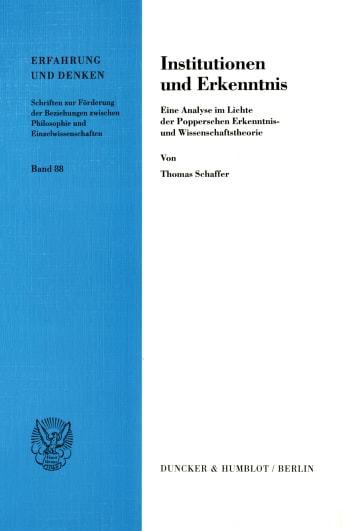 Cover: Institutionen und Erkenntnis