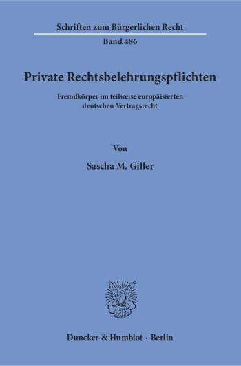 Cover: Private Rechtsbelehrungspflichten