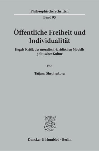 Cover: Öffentliche Freiheit und Individualität