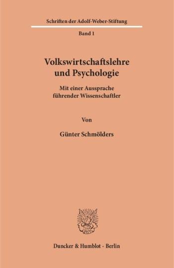 Cover: Volkswirtschaftslehre und Psychologie