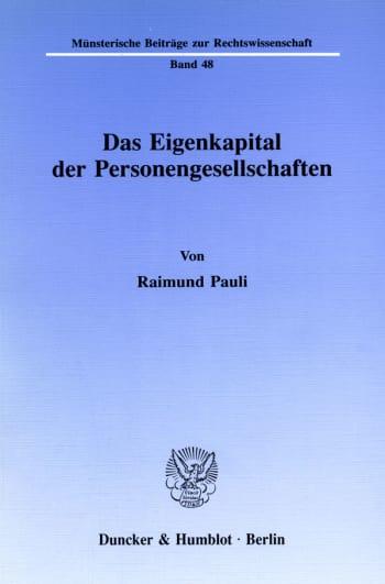 Cover: Das Eigenkapital der Personengesellschaften
