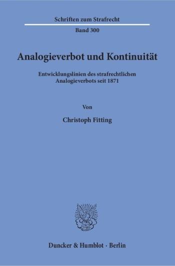 Cover: Analogieverbot und Kontinuität
