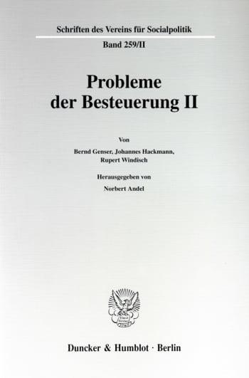 Cover: Probleme der Besteuerung II