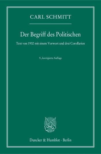 Cover: Der Begriff des Politischen