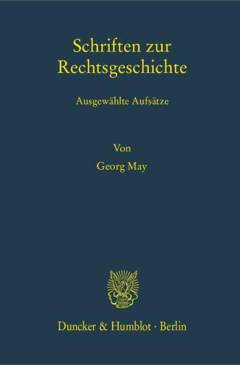 Cover: Schriften zur Rechtsgeschichte