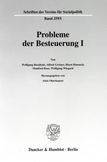 Cover: Probleme der Besteuerung I