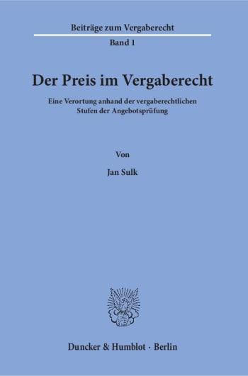Cover: Der Preis im Vergaberecht