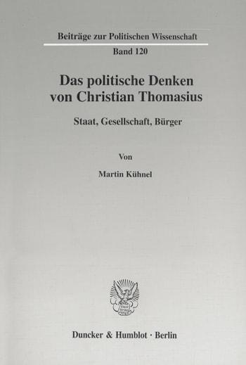 Cover: Das politische Denken von Christian Thomasius