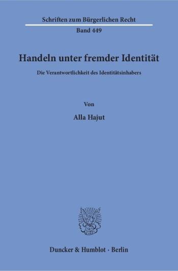 Cover: Handeln unter fremder Identität