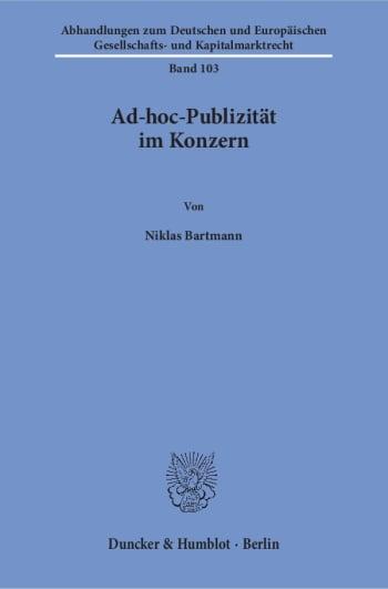 Cover: Ad-hoc-Publizität im Konzern