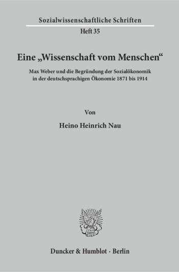 """Cover: Eine """"Wissenschaft vom Menschen"""""""