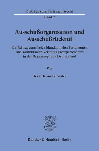Cover: Ausschußorganisation und Ausschußrückruf