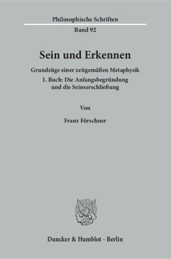 Cover: Sein und Erkennen