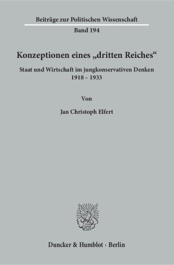Cover: Konzeptionen eines »dritten Reiches«