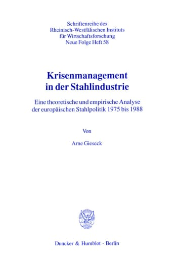 Cover: Krisenmanagement in der Stahlindustrie