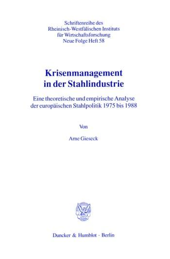 Cover: Krisenmanagement in der Stahlindustrie