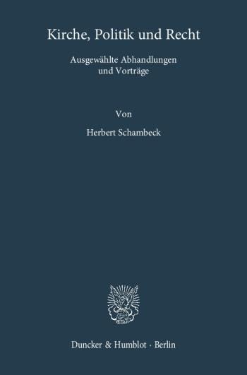 Cover: Kirche, Politik und Recht