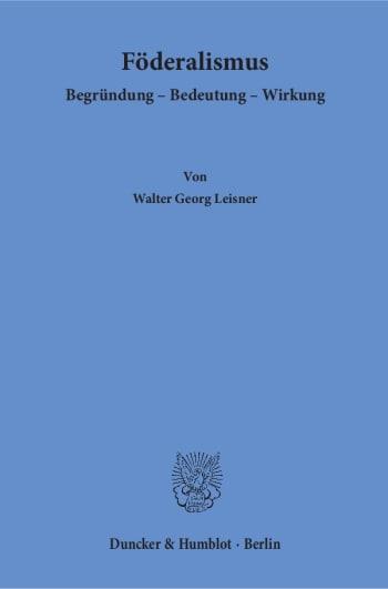 Cover: Föderalismus