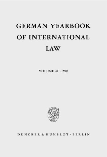 Cover: German Yearbook of International Law / Jahrbuch für Internationales Recht