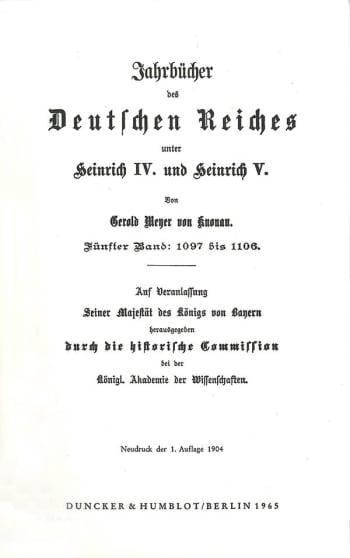 Cover: Jahrbücher des Deutschen Reiches unter Heinrich IV. und Heinrich V