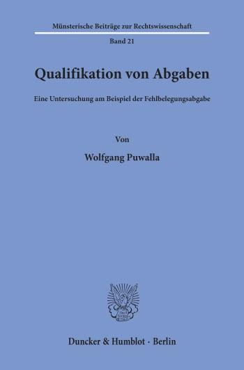 Cover: Qualifikation von Abgaben