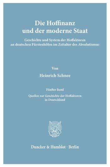 Cover: Die Hoffinanz und der moderne Staat