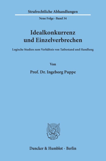 Cover: Idealkonkurrenz und Einzelverbrechen
