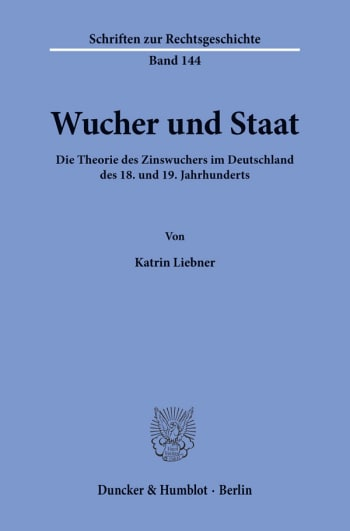 Cover: Wucher und Staat