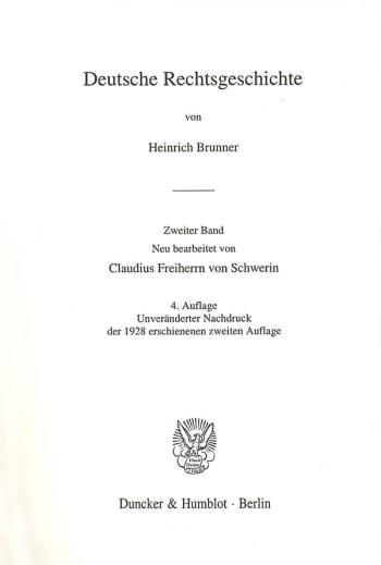 Cover: Deutsche Rechtsgeschichte. 2. Band