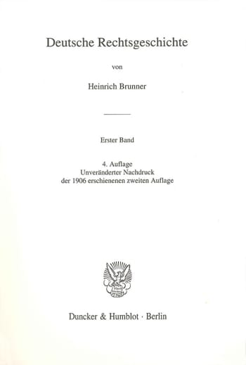 Cover: Deutsche Rechtsgeschichte. 1. Band