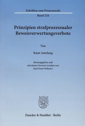 Cover: Prinzipien strafprozessualer Beweisverwertungsverbote