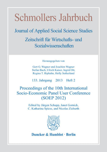 Cover: Proceedings of the 10th International Socio-Economic Panel User Conference (SOEP 2012)
