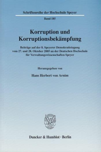 Cover: Korruption und Korruptionsbekämpfung